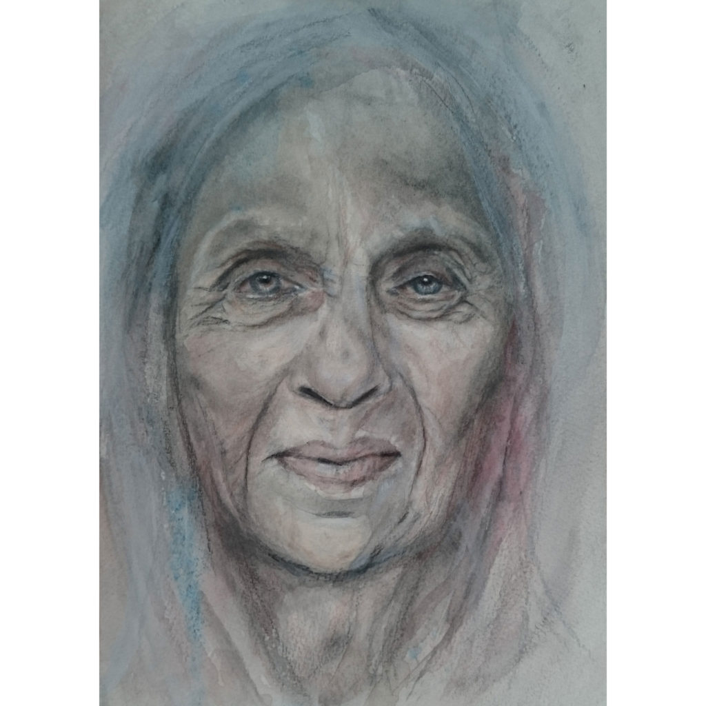 Graphite and Watercolour drawing - Enola by Portrait Artist Donna Readman