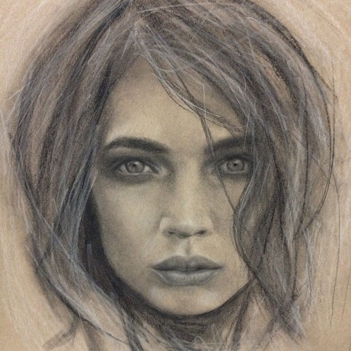 Charcoal Drawing - Simmer by Portrait Artist Donna Readman