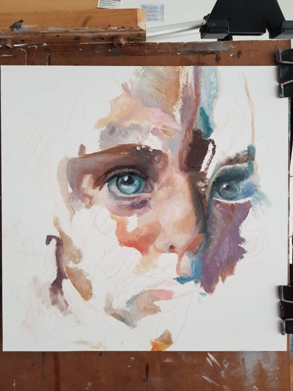 Abstract Portrait Painting -  process shot - Ephemeral