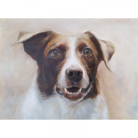 Del Dog Oil Painting
