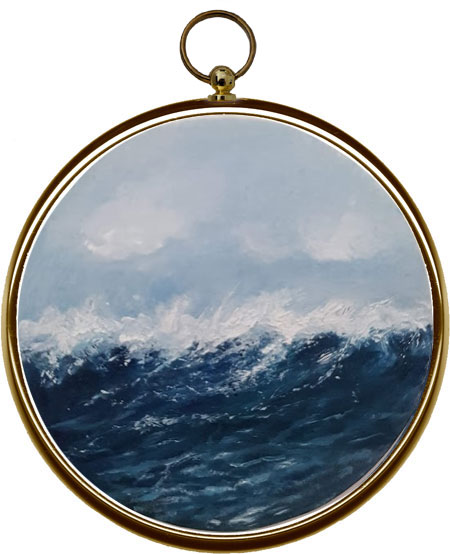 Whipping Waves Miniature Seascape Painting