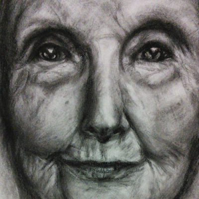 Close up Portrait drawing charcoal