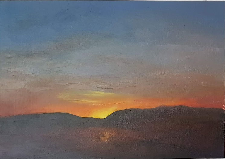 Sunset in Blue Major - Oil Painting