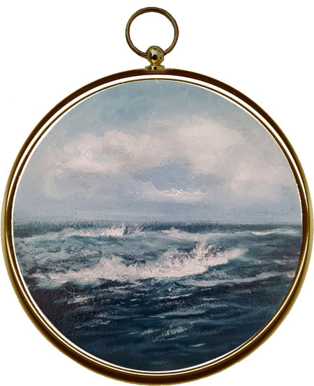 Miniature Seascape Painting Swept Ashore