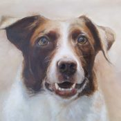 Dog portrait painting in oils of Del.